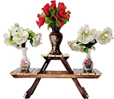 Shopify Wooden Flower Pot Stand for Home Decor and Foldable Multipurpose Foldable Rack Plant Stand for Vases (Brown, FAS66)