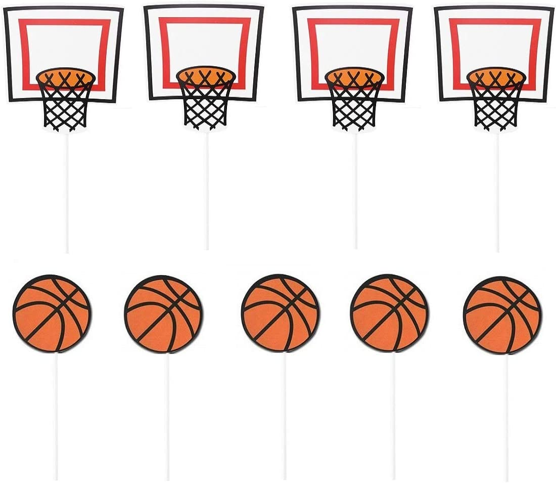 Amazon Com Janou Basketball Sports Cupcake Toppers Cake Picks Decoration Birthday Baby Shower Wedding Party Suppliers Pack 20pcs Grocery Gourmet Food