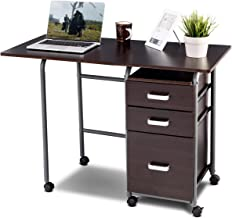 Tangkula Foldable Computer Desk, Home Office Computer Table with 3 Ample Storage Drawers, Laptop Desk Writing Table, Portable Space Saving Compact Desk for Dome Apartment, Folding Table (Brown)