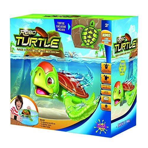 Robo-Turtle | Spielset Wasserschildkröte, Aquarium, Felsen | Gigantischer Wasserspaß auch in der Badewanne | Lebensechte Bewegungen auf dem Land und im Wasser