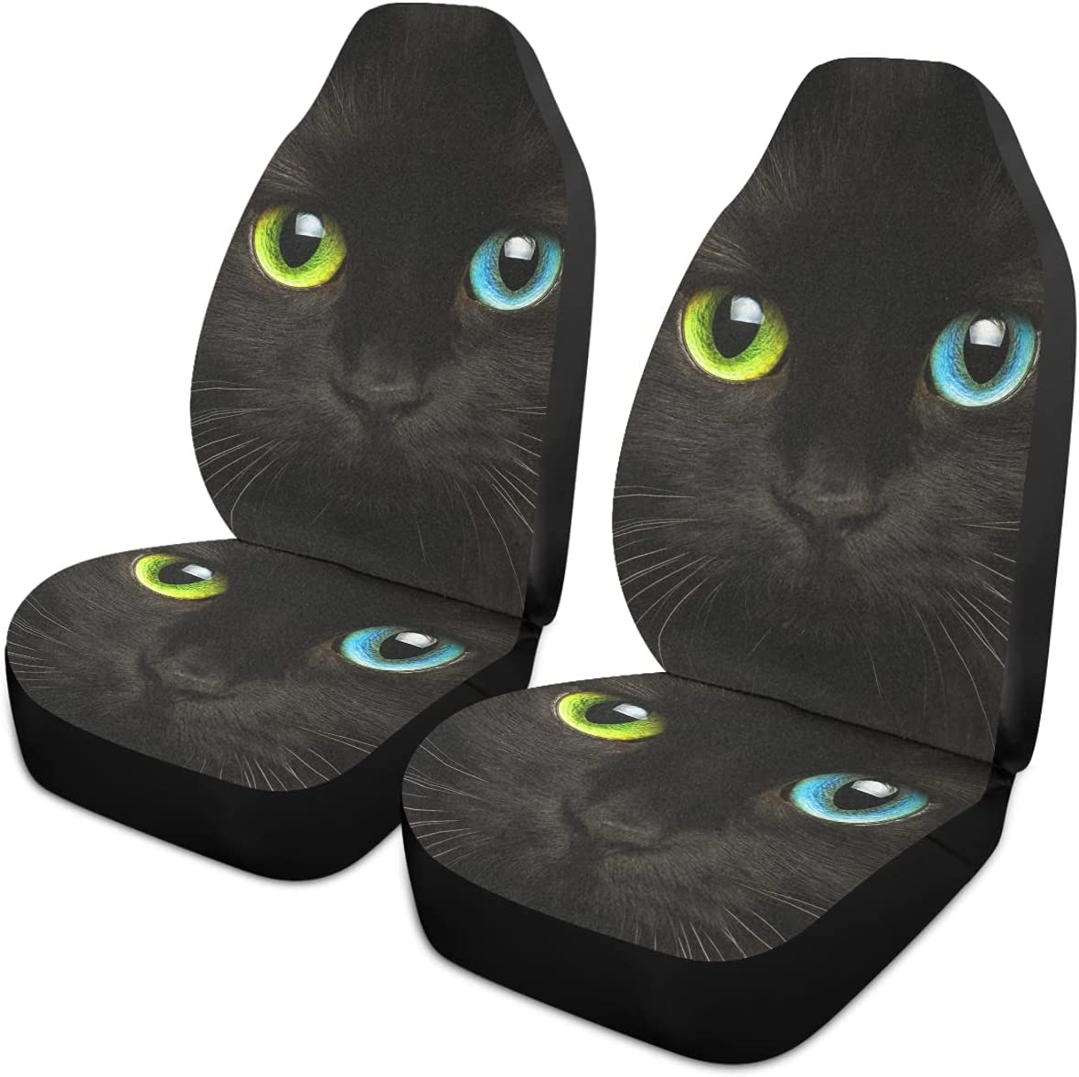 Oarencol famous Cute Black Cat Car Seat Eyes Univers Yellow Cheap SALE Start Covers Blue