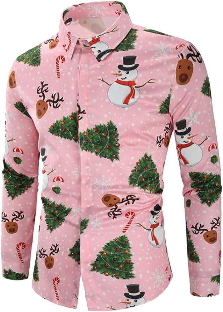 F_Gotal Men's Ugly Christmas Shirt Party Holiday Xmas Button Down Shirt 3D Printing Slim Fit Long Sleeve Dress Shirt