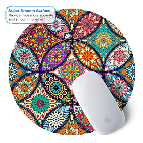 BOSOBO Mouse Pad, Round Mandala Mouse Mat, Cute Mouse Pad with Design, Non-Slip Rubber Base Mousepad with Stitched Edge, Waterproof Women Office Mouse Pads, Small Size 7.9 x 7.9 Inch, Pretty Mandala Photo #7