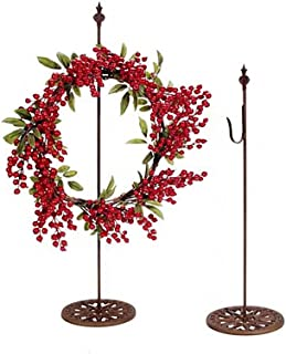 """Darice 30"""" Free Standing Metal Wreath Hanger (1pc) – Rusted Metal Color, Smooth Finish, Decorative Base – Holds Up To 5lbs in Weight – Perfect for Tabletop, Counter, Mantel – Hang Wreaths, Small Signs"""