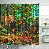 Dschungeltier-Duschvorhang Badezimmer Cartoon Tierwelt Zoo Badvorhang Tropischer Wald Elefant Löwe Flamingo Giraffe Zebra Affe Papagei Kinder Duschvorhänge Polyester Stoff Dekor Haken 175 x 178 cm