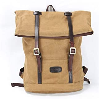 Canvas Leather Men Backpack Outdoor Large Capacity Multi-Function Travel Backpack Bags (Color : Brown, Size : 18 Inches)
