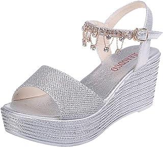 WINJIN Chaussures Femme Ete, Sandales Femmes Talon Compensé Sandales Compensées Peep-Toe Femmes Plateforme Chaussures Chau...
