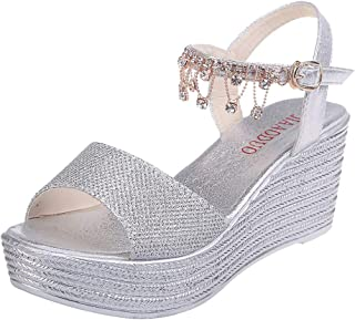 BOLUBILUY Rhinestone Sandals for Women,Bohemia Bling Wedges Shoes Pearl Thick Bottom Belt Buckle Roman Sequin Sandals