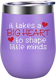 It Takes a Big Heart to Shape Little Minds - Teacher Appreciation Gifts - Best Teacher Gifts for Women - Funny Thank You, End of the Year, Birthday, Christmas Gifts for Teachers - LEADO Wine Tumbler