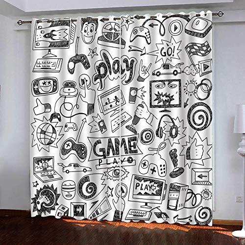 QHJIAFANG Cortinas Dormitorio Moderno Estilo Simple 2x140x245cm(An x Al) Blackout Curtain Cortina Opaca Suave para Ventanas de Habitación Juvenil con Ojales Sala de Estar Niño Dormitorio
