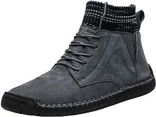 FWEIP Vintage Combat Boots Suede Men'S Casual Plus Velvet Warm Socks Locomotive Tooling Shoes