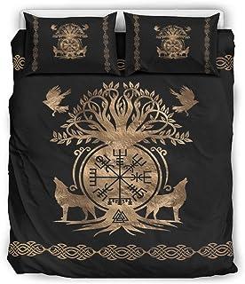 LAOAYI Colcha vikinga cómoda y ligera de 3 piezas, 1 funda nórdica y 2 fundas de almohada, color blanco, 229 x 229 cm