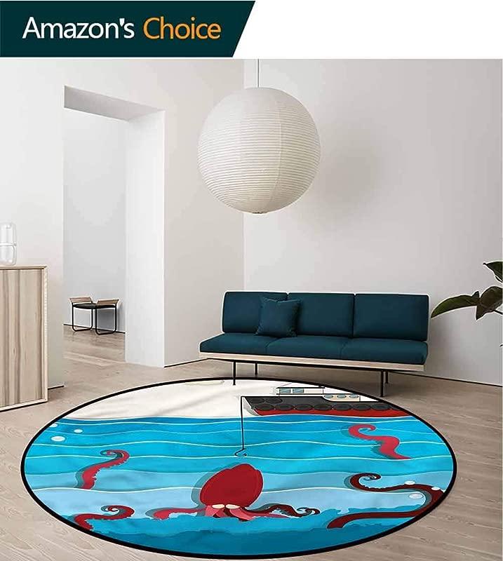 RUGSMAT Fishing Dining Room Home Bedroom Carpet Floor Mat Exotic Octopus In Waves Non Slip No Shedding Kitchen Soft Floor Mat Diameter 59