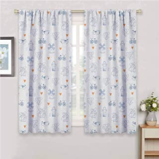 GUUVOR Dutch All Season Insulation Traditional Holland Culture Elements with Doodle Style Clogs Bicycles Noise Reduction Curtain Panel Living Room W63 x L72 Inch Orange Navy Blue and White
