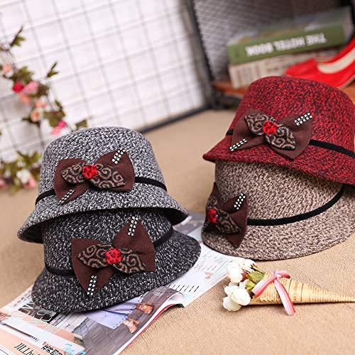 Zhang Frau Herbst und Winter warm schöne Neue Frauen-Hut koreanische Version von Outdoor-Reisen Verdeck Hut 05 (Color : Claret, Size : M56-58cm)