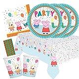 spielum Juego de 41 piezas para fiesta de Peppa Pig – Platos, vasos, servilletas, mantel y pajitas para 8 niños
