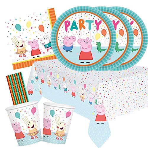 amscan/spielum Juego de 41 piezas para fiesta de Peppa Pig – Platos, vasos, servilletas, mantel y pajitas para 8 niños
