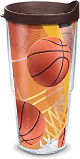 Tervis 1139494 Basketballs Net & Golden Background Tumbler with Wrap and Brown Lid 24oz, Clear
