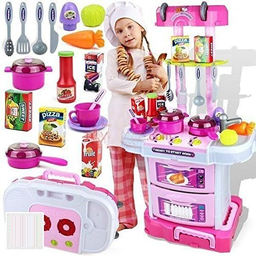 Techhark Little Chef Kids Kitchen Play Set with Light & Sound Cooking...