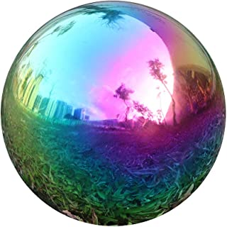 USHome Rainbow Home Garden Gazing Globe Mirror Balls, Polished Stainless Steel Shiny Sphere, Ideal As a Housewarming Gift (8 Inch)