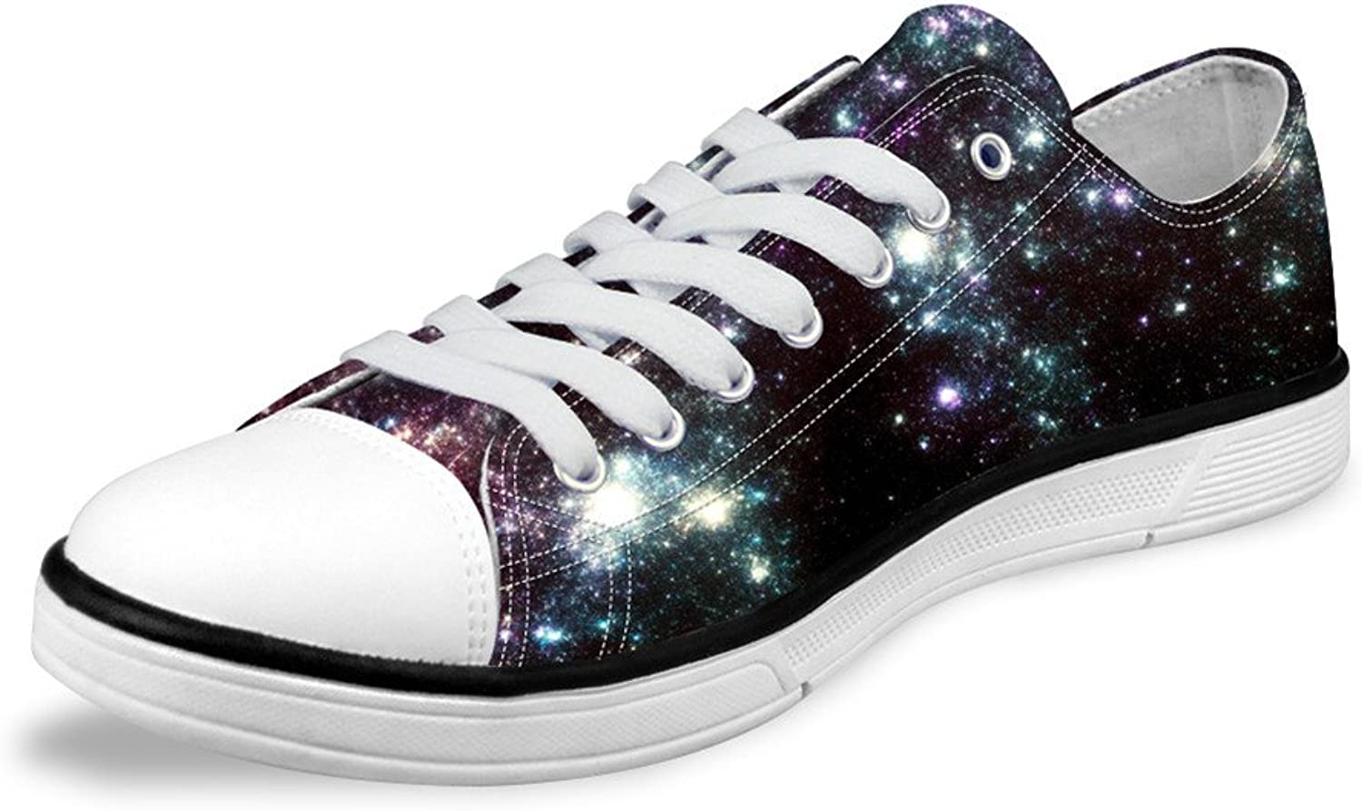 FOR U DESIGNS Casual Dark Galaxy Lo-top Lace Up Canvas Casual Flat Women Sneaker US 11