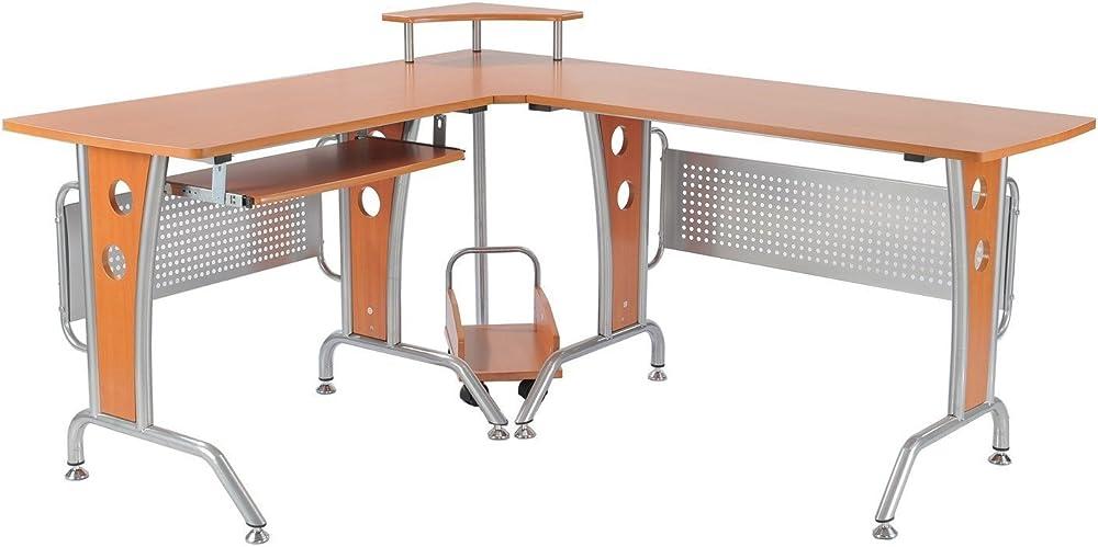 Homcom, scrivania da ufficio,ad angolo per computer,telaio in ferro verniciato,pianale in legno A2-0076