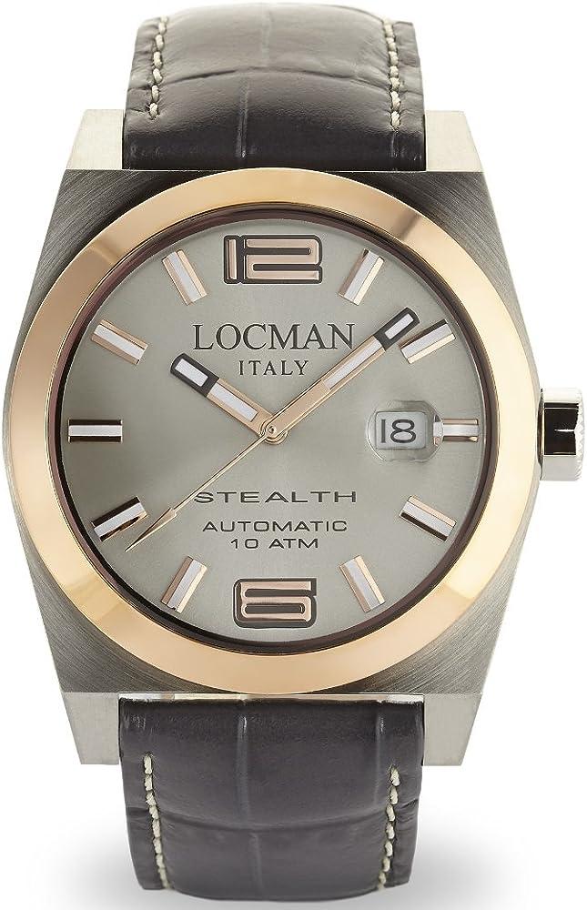 Orologio locman automatico da uomo, cassa in acciaio e titanio, cinturino in pelle 02050RGYF5N0PSA