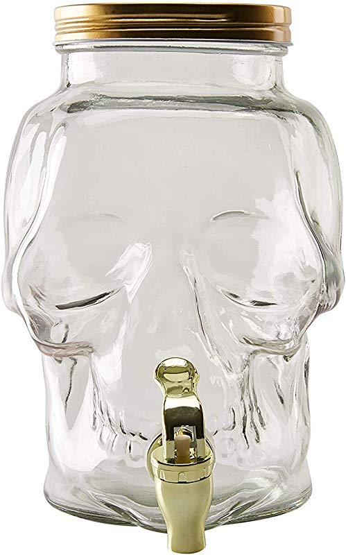 Glass Beverage Dispenser Skull Shaped 0 78 Gallon Mason Jar Drink Container With Lid And Plastic Spigot Halloween Spooky Themed Party Supplies Juice Bar Clear 7 3 X 6 1 X 9 2 Inches 3 Liter
