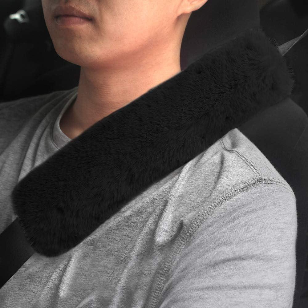 GAMPRO Car Seat Belt Pad Cover, 2-Pack Soft Car Safety Seat Belt Strap Shoulder Pad for Adults and Children, Suitable for Car Seat Belt, Backpack, Shoulder Bag (Black)