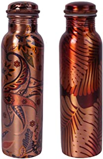 bona Fide Printed Copper Water Bottle Large-Leak Proof Ayurvedic Pure Copper Vessel for Drinking Water-Enjoy The Ayurvedic Health Benefits 33 oz(1000 ml)