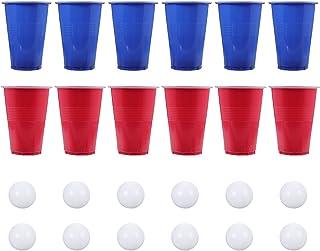 TOYANDONA Bière- Pong Ensemble 24 Tasses Pong Et 24 Boules Ensemble Drôle de Jeu De Bière Potable Jeu pour Intérieur Extér...