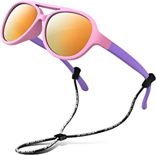 Rubber Kids Polarized Sunglasses with Strap Shades for...