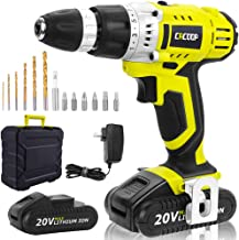 CACOOP Green Cordless 20V Lithium-ion Drill Driver Set (1.5Ah),2 Battery, 1 Charger, and 1 Carrying Case Included