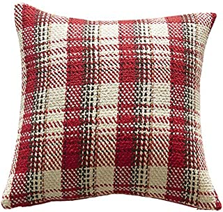 HANGOOD Knitted Decorative Throw Pillow Covers Cases Buffalo Check Plaid Cushion Covers Christmas Xmas Red and White 20x20inch 50x50cm
