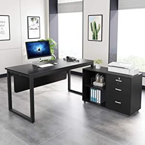 Tribesigns L-Shaped Desk, 55 inch Modern Computer Desk with 35inch File Cabinet Printer Stand, Large Executive Office Desk Business Furniture with Storage Shelves for Home Office