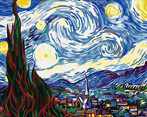 WONZOM Pintura por Números para Adultos - DIY Conjunto Completo de Pigmento Surtido Pintura al óleo Kit con Pinceles - La Noche Estrellada por Van Gogh 16 * 20 Pulgadas
