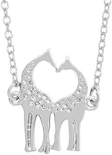Frodete Hollow Cute Heart Baby Deer Animal Necklace Women Loving Giraffes Elk Antler Glamour Couples Necklace