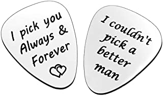 2PCS Guitar Pick, I Couldn't Pick A Better Man&I pick you always and forever,Birthday Gift for Musician Guitar Player Husband Boyfriend, Valentines Father`s Day Christmas Anniversary Gifts for him