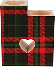 Romantic Wooden Heart Shaped Couple Candle Holders, Black Green red Tartan Plaid Scottish Candle Holder Heart Pedestal for...