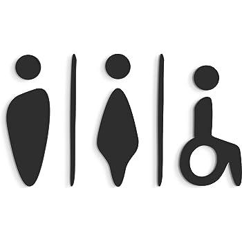 Signs WC H Symboles de D/écalque de Mur de Toilette de Salle de Bains Blanc 3DP en Relief Figure Adh/ésifs Femme Handicap/é | Homme