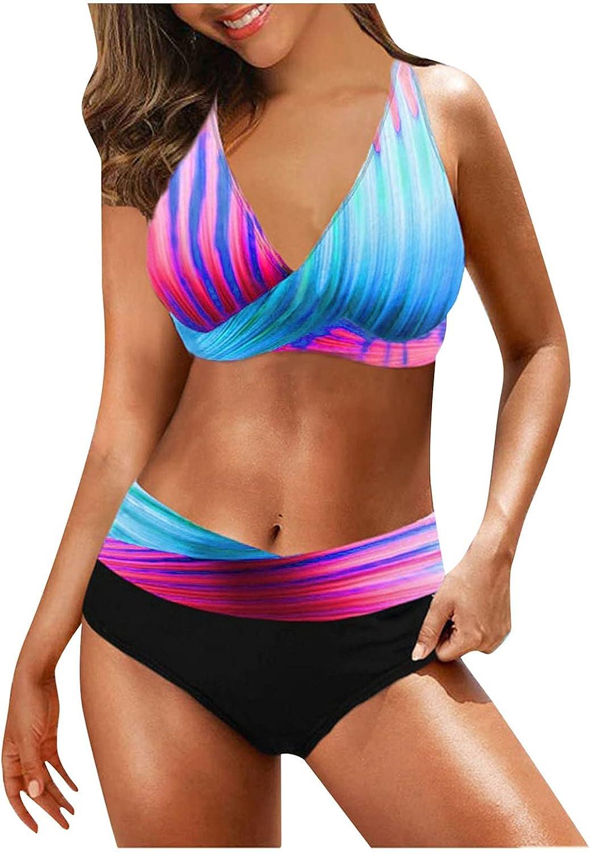LAOTANG 2XL Women Plus Size Print Strappy Back Tankini Set Two Piece Swimsuits 2021 Swimdress