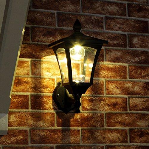 Festive Lights Laterne für die Wandmontage, solarbetrieben, warmweiße LEDs, Doppelhelligkeit