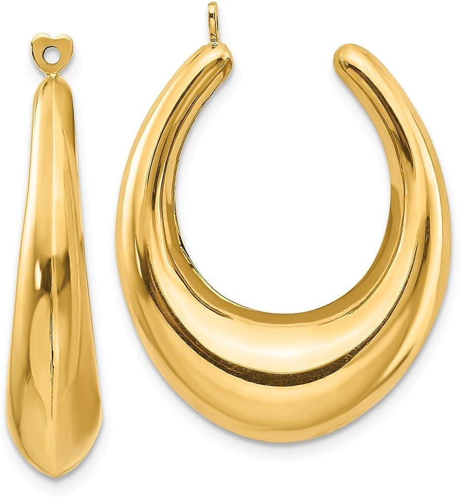 14K Polished Hollow Hoop Earring Jackets