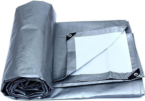 Tarpaulin HUO Bache résistante imperméable Anti-UV imperméable de bache Solide de Tissu de Couverture de linoléum, Argent + Blanc, 175g   m2 (Couleur   argent+blanc, Taille   6  8M)