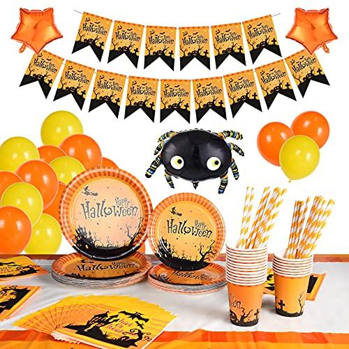 FORMIZON Set di Stoviglie a Tema Halloween, 144 PCS Tema Zucca Halloween Stoviglie per 24 Persone, Forniture per Feste di Halloween con 9 Pollici Piatti, 7 Pollici Piatti, Tovaglioli e Tovaglia(Zucca)