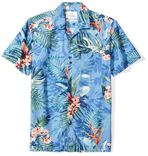 Amazon Brand - 28 Palms Men's Standard-Fit Tropical Hawaiian Shirt, Blue Bird of Paradise, Large