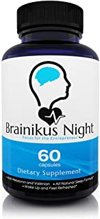 Brainikus Night Sleep Nootropics Booster Pills – All Natural Sleep Formula Brain Supplement for Focus, Concentration and Memory, 60 Capsules