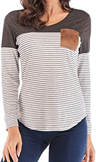ANAKIKI Womens Loose Long Sleeve Tee V Neck Ribbed Button Down Henley Shirts Tunic Tops Blouse