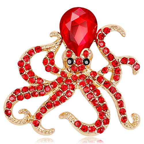 FENGJI Brooches for Women,18K Gold Plated Crystal Rhinestone Jewellery 3D Lovly Octopus Animal Brooch Pin Red