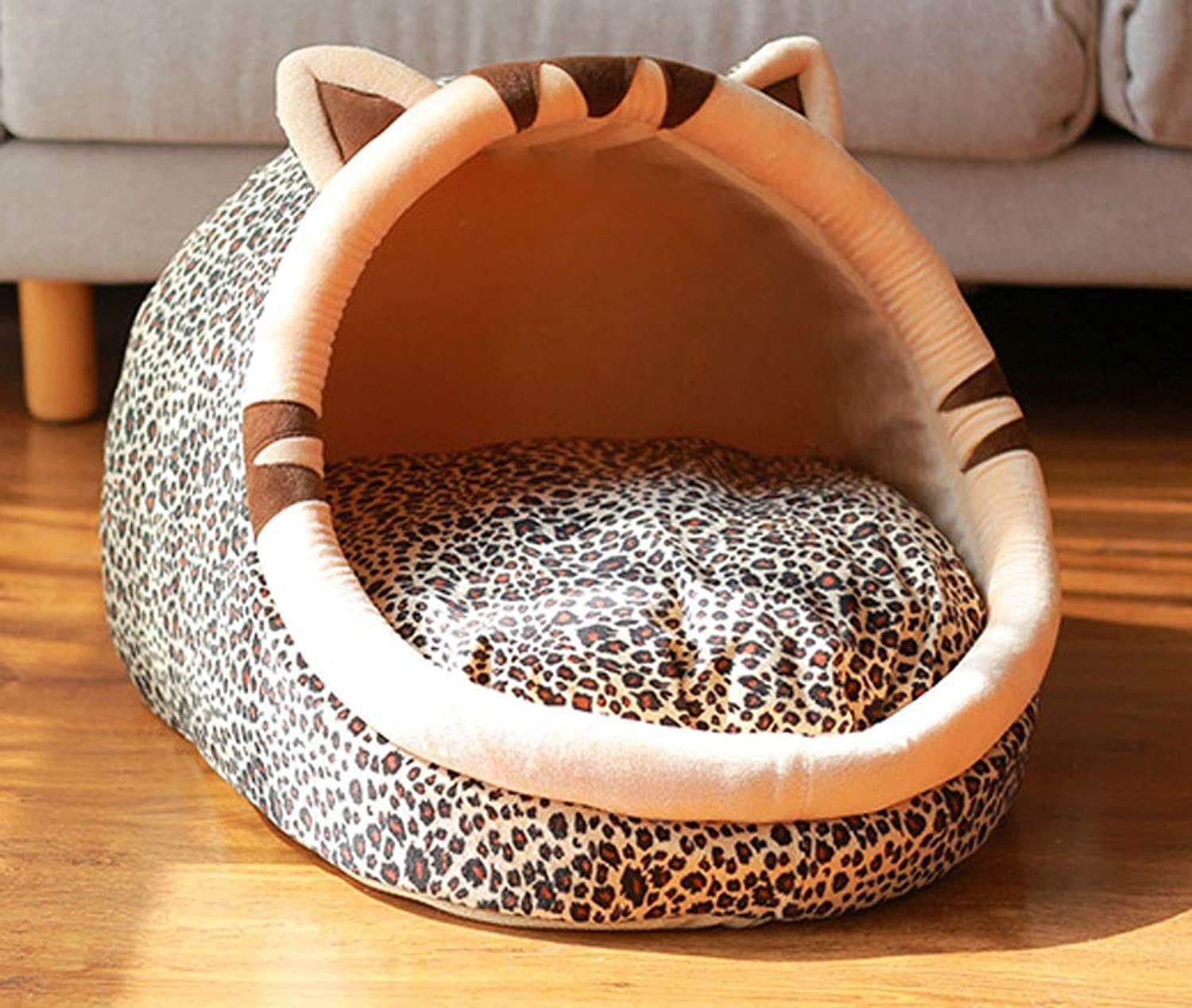 BEITAI Cat Dog Bed House Personalized Dog Nest Fabric Pet Waterloo Detachable Wash Pet Products (Style   Leopard Grain)